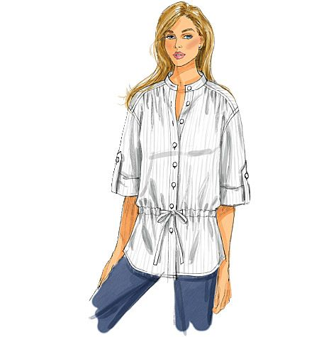 B5611 Butterick 5611 4 Styles Loose Fitting Misses Women Shirt Top