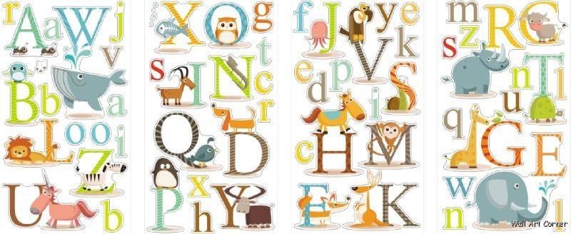 Educational Animals Alphabet Kids Wall Sticker Decals