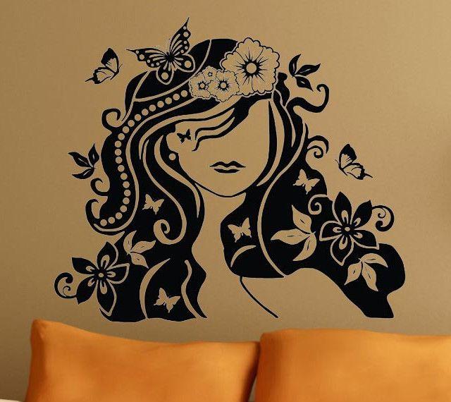Lg Flower Girl Mural Wall Decor Art Vinyl Decal Sticker