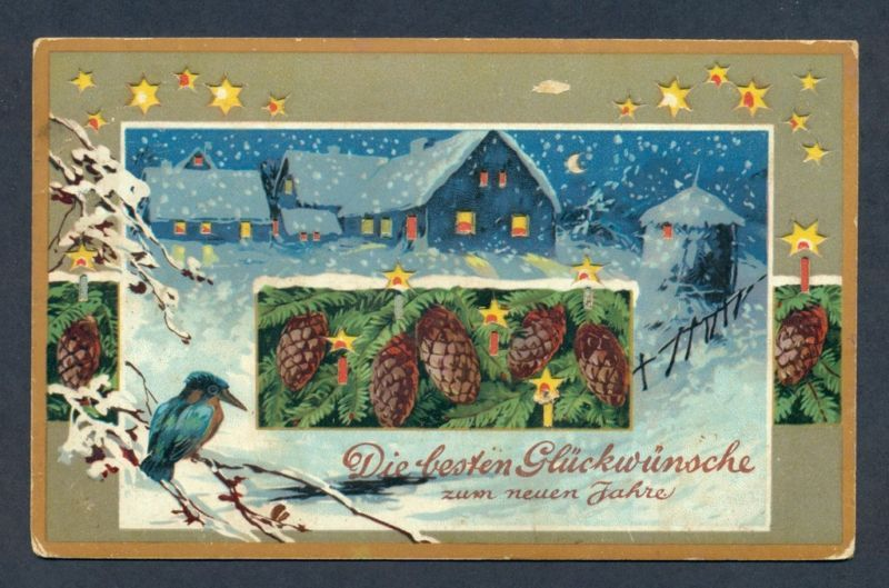 S1168 New Year Hold to Light postcard, Pine cones,