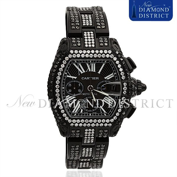 BLACK & WHITE DIAMOND EXTRA LARGE CARTIER ROADSTER CHRONOGRAPH WATCH