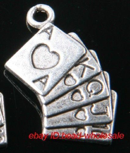 Free 14pcs tibetan silver playing card charms pendants