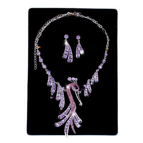 Necklace Earrings Set Phoenix Plume Drop White Gold Plating Czech
