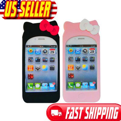 Hot Pink Hello Kitty Silicone Soft Case Cover with 2 bow knots For