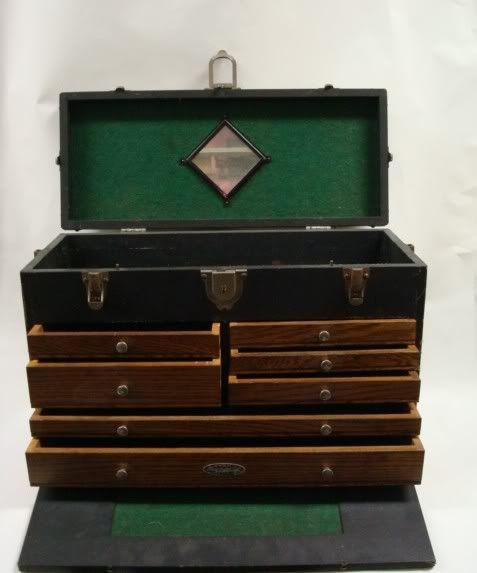 Vintage Gerstner Die Makers Tool Box Chest Oak 7 Drawer