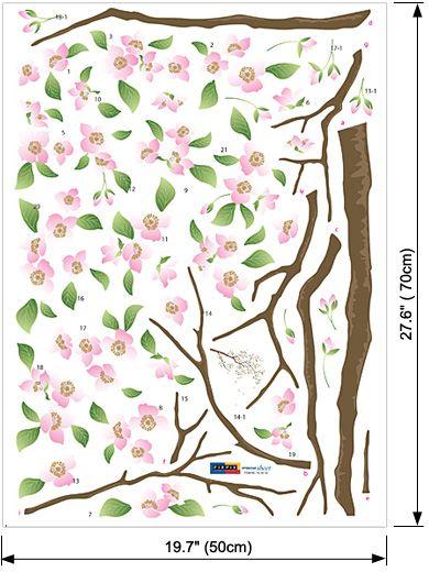 Cherry Blossoms Mural Art Wall Stickers Vinyl Decals