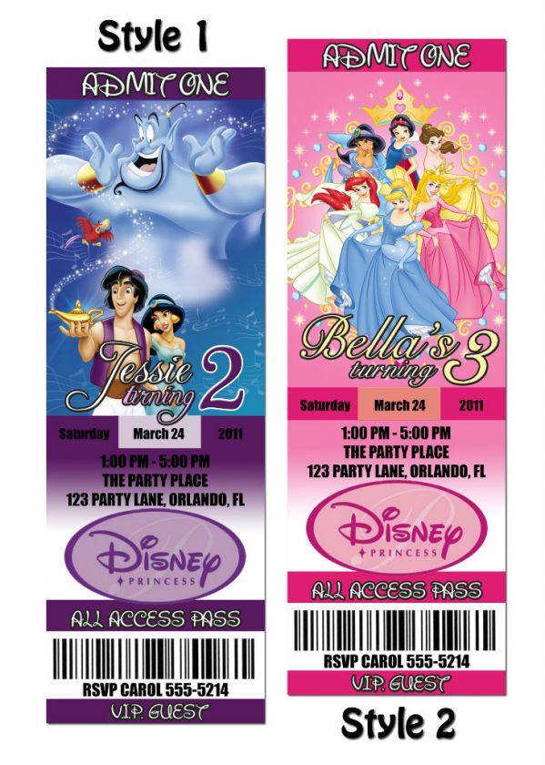Disney Princess Custom Birthday Party Invitation Ticket